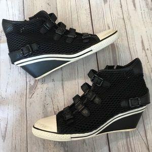 ASH Black & White Mesh Buckle Wedge Sneakers